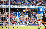 14.07.2019: Rangers v Marseille: Nikola Katic heads goalwards where is it cleared on the line for Connor Goldson to toe poke in for goal no 3