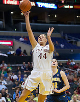 LOS ANGELES, CA - March 10, 2012: Forward Joslyn Tinkle (44) of the Stanford University woman's basketball team competes against Cal during the PAC 12 Woman's Basketball Championship Game at the Staples Center in Los Angeles California. Final score Stanford won 77-62.