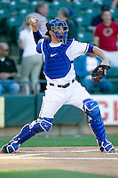 Round Rock Express catcher Taylor Teagarden against the Omaha Storm Chasers in Pacific Coast League baseball on Monday April 11th, 2011 at Dell Diamond in Round Rock Texas.  (Photo by Andrew Woolley / Four Seam Images)