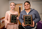 WATERBURY, CT. 07 May 2018-050718BS20 - From left, Tyrrell Middle School student Lila Richardson of Wolcott, and Enlightenment School student Ruth Celina Vargas of Waterbury stand together after being recognized and receiving awards during the 15th Annual Excellence in Youth Awards at the Waterbury Youth Services on Monday evening. Bill Shettle Republican-American