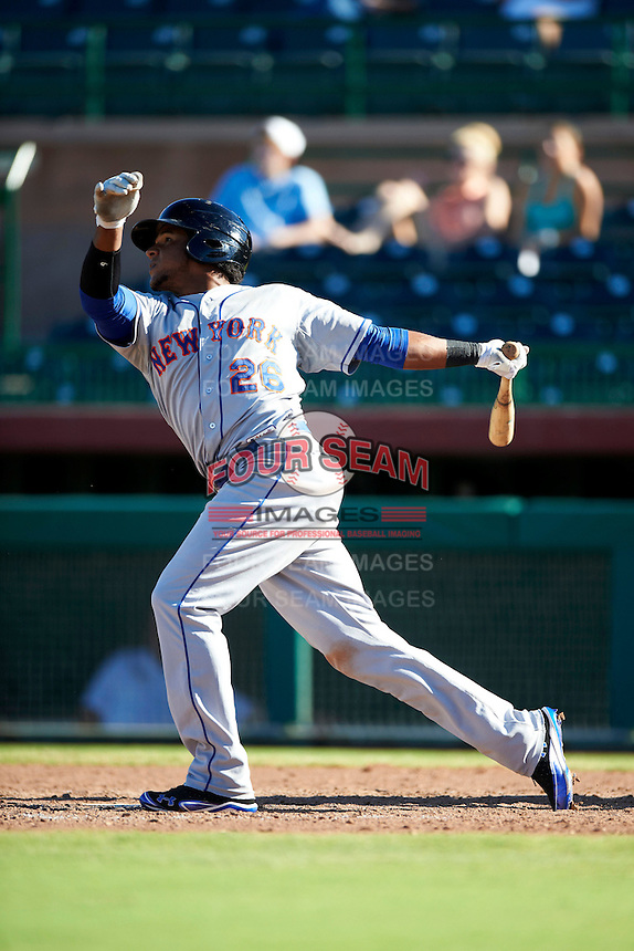 Surprise Saguaros outfielder Cesar Puello #26, of the New York Mets organization, during an Arizona Fall League game against the Scottsdale Scorpions at Scottsdale Stadium on October 16, 2012 in Scottsdale, Arizona.  Surprise defeated Scottsdale 11-3.  (Mike Janes/Four Seam Images)