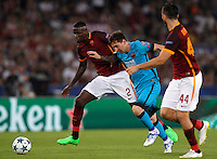 Calcio, Champions League, Gruppo E: Roma vs Barcellona. Roma, stadio Olimpico, 16 settembre 2015.<br /> FC Barcelona&rsquo;s Lionel Messi, center, is challenged by Roma&rsquo;s Antonio Ruediger, left, during a Champions League, Group E football match between Roma and FC Barcelona, at Rome's Olympic stadium, 16 September 2015.<br /> UPDATE IMAGES PRESS/Riccardo De Luca<br /> <br /> *** ITALY AND GERMANY OUT ***