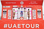 David Gaudu (FRA) Groupama-FDJ retains the White Jersey at the end of Stage 5 of the 2019 UAE Tour, running 181km form Sharjah to Khor Fakkan, Dubai, United Arab Emirates. 28th February 2019.<br /> Picture: LaPresse/Massimo Paolone | Cyclefile<br /> <br /> <br /> All photos usage must carry mandatory copyright credit (&copy; Cyclefile | LaPresse/Massimo Paolone)