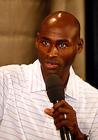 Bernard Lagat answering questions during press conference for the 101st. MILLROSE GAMES to be held at Madison Square Garden on Friday night February 3rd. 2008. Photo by Errol Anderson, TheSporting Image.