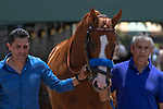 """ARCADIA, CA  JUNE 23: Justify, Humberto Gomez and Eduardo Luna  on  """"Justify Day"""" on June 23, 2018 at Santa Anita Park in Arcadia, CA.  (Photo by Casey Phillips/Eclipse Sportswire/Getty Images)"""