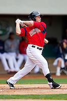 Daniel Nava #33 of the Pawtucket Red Sox follows through on a solo home run in the bottom of the first inning against the Charlotte Knights at McCoy Stadium on June 12, 2011 in Pawtucket, Rhode Island.  The Red Sox defeated the Knights 2-1.    Photo by Brian Westerholt / Four Seam Images