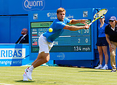 June 19th 2017, Queens Club, West Kensington, London; Aegon Tennis Championships, Day 1; Ryan Harrison (USA) plays a backhand during his first round singles match against number six seed Grigor Dimitrov (BUL)