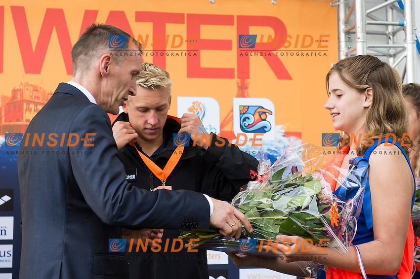Erik Van Heijningen President of Dutch Swimming Federation during the Medal Ceremony<br /> Hoorn, Netherlands <br /> LEN 2016 European Open Water Swimming Championships <br /> Open Water Swimming<br /> Men's 10km<br /> Day 01 10-07-2016<br /> Photo Giorgio Perottino/Deepbluemedia/Insidefoto