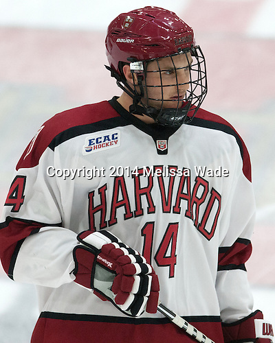 Alexander Kerfoot (Harvard - 14) - The Harvard University Crimson tied the visiting Dartmouth College Big Green 3-3 in both team's first game of the season on Saturday, November 1, 2014, at Bright-Landry Hockey Center in Cambridge, Massachusets.