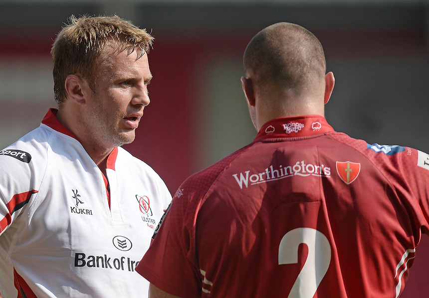 Ulster&rsquo;s Roger Wilson chats to Scarlets Ken Owens while awaiting the TMO decision<br /> <br /> Photographer Ian Cook/CameraSport<br /> <br /> Rugby Union - Guinness PRO12 - Scarlets v Ulster - Saturday 6th September 2014 - Parc y scarlets - Llanelli<br /> <br /> <br /> &copy; CameraSport - 43 Linden Ave. Countesthorpe. Leicester. England. LE8 5PG - Tel: +44 (0) 116 277 4147 - admin@camerasport.com - www.camerasport.com