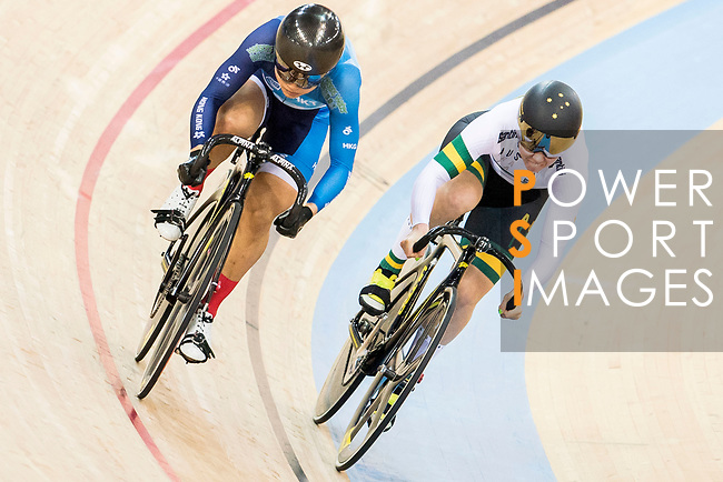 Lee Wai Sze of the Hong Kong team and Kaarle McCulloch of the Australia team compete in the Women's Sprint - Quarterfinals as part of the 2017 UCI Track Cycling World Championships on 13 April 2017, in Hong Kong Velodrome, Hong Kong, China. Photo by Chris Wong / Power Sport Images