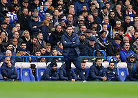 9th November 2019; Stamford Bridge, London, England; English Premier League Football, Chelsea versus Crystal Palace; Chelsea Manager Frank Lampard looks on from the touchline  - Strictly Editorial Use Only. No use with unauthorized audio, video, data, fixture lists, club/league logos or 'live' services. Online in-match use limited to 120 images, no video emulation. No use in betting, games or single club/league/player publications