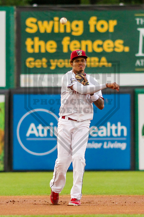 Wisconsin Timber Rattlers shortstop Gilbert Lara (11) during a Midwest League game against the Quad Cities River Bandits on June 8, 2017 at Fox Cities Stadium in Appleton, Wisconsin.  Wisconsin defeated Quad Cities 8-3. (Brad Krause/Krause Sports Photography)