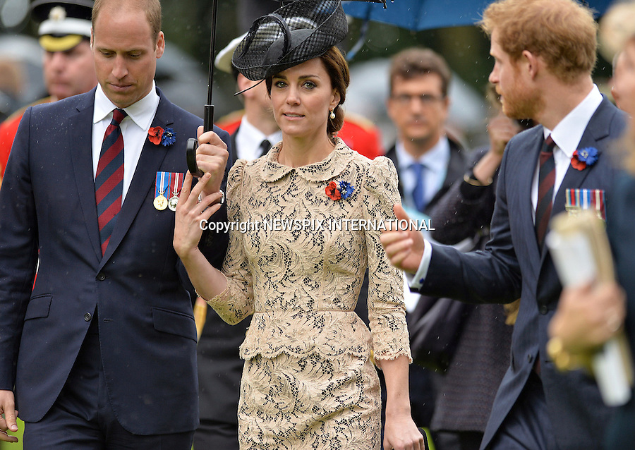 01.07.2016; Thiepval, France:  KATE MIDDLETON, PRINCES WILLIAM AND HARRY<br /> attend a service to commemorate the 100th anniversary of the beginning of the Battle of the Somme at the Commonwealth War Graves Commission Memorial in Thiepval, France<br /> Mandatory Photo Credit: &copy;MoD/NEWSPIX INTERNATIONAL<br /> <br /> IMMEDIATE CONFIRMATION OF USAGE REQUIRED:<br /> Newspix International, 31 Chinnery Hill, Bishop's Stortford, ENGLAND CM23 3PS<br /> Tel:+441279 324672  ; Fax: +441279656877<br /> Mobile:  07775681153<br /> e-mail: info@newspixinternational.co.uk<br /> Please refer to usage terms. All Fees Payable To Newspix International