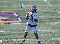Senior Justin Reh (#11) organizes the attack as UAlbany Lacrosse defeats Vermont 14-4  in the American East Conference Championship game at Casey Stadium, May 5.
