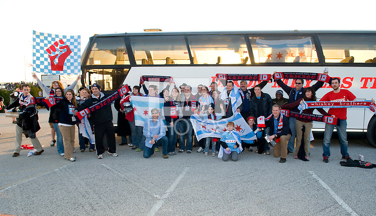 Chicago Red Stars super fans pose for a photo before the game. Saint Louis Athletica were defeated 1-0 by Chicago Red Stars in which was both teams inaugural game, played at Korte Stadium, Edwardsville, Illinois on April 4, 2009. Photo by Scott Rovak /isiphotos.com