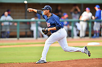 Elizabethton Twins starting pitcher Luis Rio (15) delivers a pitch during a game against the Kingsport Mets at Joe O'Brien Field on August 7, 2018 in Elizabethton, Tennessee. The Twins defeated the Mets 16-10. (Tony Farlow/Four Seam Images)
