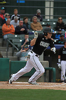 Coastal Carolina Chanticleers infielder Conner Owings #6 at bat during a game against the Wichita State Shockers at Ticketreturn.com Field at Pelicans Ballpark on February 23, 2014 in Myrtle Beach, South Carolina. Wichita State defeated Coastal Carolina by the score of 5-2. (Robert Gurganus/Four Seam Images)