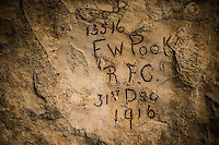 WWI soldiers inscriptions in the subterranean city at Naours &ndash; Bocage Hallue.<br /> <br /> <br /> Terms of Use:<br /> These photos are for one-time use, limited to professional media outlets and blogs, in connection with an accompanying story about Jeffrey Gusky, his work and WW1-related discoveries. Stories appearing during the license period may be archived online by the media outlet or blog who published the story. This image is a low resolution version of the original. Higher resolution images are available by special arrangement with the artist. This image may not be modified and may not be used commercially except with a commercial license. This image is not available under any Creative Commons license.<br /> <br /> Copyright (c) 2015 Jeffrey Gusky. All Rights Reserved. Jeffrey Gusky, c/o attorney at P.O. Box 2526, Addison, TX 75001-2526. photos@jeffgusky.com.