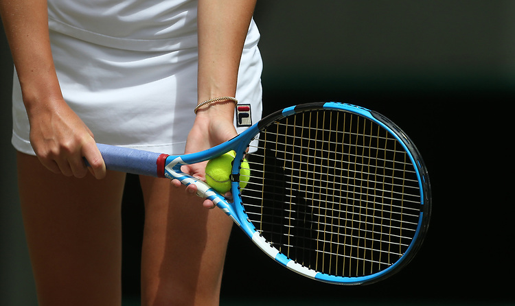 A close-up of Karolina Pliskova (CZE) during her match against Su-Wei Hsieh (TPE) in their Ladies' Singles Third Round match<br /> <br /> Photographer Rob Newell/CameraSport<br /> <br /> Wimbledon Lawn Tennis Championships - Day 5 - Friday 5th July 2019 -  All England Lawn Tennis and Croquet Club - Wimbledon - London - England<br /> <br /> World Copyright © 2019 CameraSport. All rights reserved. 43 Linden Ave. Countesthorpe. Leicester. England. LE8 5PG - Tel: +44 (0) 116 277 4147 - admin@camerasport.com - www.camerasport.com