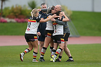 Picture by Paul Currie/SWpix.com - 07/10/2017 - Rugby League - Women's Super League Grand Final - Bradford Bulls v Featherstone Rovers - Regional Arena, Manchester, England - Bradford Bulls coach Mark Prescott celebrates with his players at the end of the match