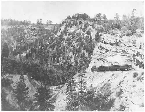 Passenger train spotted for Ridgway-bound passengers at washout.<br /> RGS  Pleasant Valley, CO  Taken by Wolfinger, C. D. - 1908