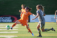 Heather O'Reilly (9) of Sky Blue FC is marked by Allison Falk (3) of the Philadelphia Independence. The Philadelphia Independence defeated Sky Blue FC 2-1 during a Women's Professional Soccer (WPS) match at John A. Farrell Stadium in West Chester, PA, on June 6, 2010.