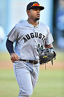 Augusta GreenJackets center fielder Heliot Ramos (14) during a game against the Asheville Tourists at McCormick Field on June 15, 2018 in Asheville, North Carolina. The Tourists defeated the GreenJackets 6-5. (Tony Farlow/Four Seam Images)