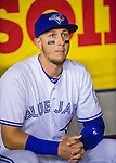 1 April 2016: Toronto Blue Jays infielder Troy Tulowitzki chats in the dugout prior to a pre-season exhibition game against the Boston Red Sox at Olympic Stadium in Montreal, Quebec, Canada. The Red Sox defeated the Blue Jays 4-2 in the first of two MLB weekend exhibition games, which saw an attendance of 52,682 at the former home on the Montreal Expos. Mandatory Credit: Ed Wolfstein Photo *** RAW (NEF) Image File Available ***1 April 2016: Toronto Blue Jays infielder Troy Tulowitzki sits ready in the dugout prior to a pre-season exhibition game against the Boston Red Sox at Olympic Stadium in Montreal, Quebec, Canada. The Red Sox defeated the Blue Jays 4-2 in the first of two MLB weekend exhibition games, which saw an attendance of 52,682 at the former home on the Montreal Expos. Mandatory Credit: Ed Wolfstein Photo *** RAW (NEF) Image File Available ***