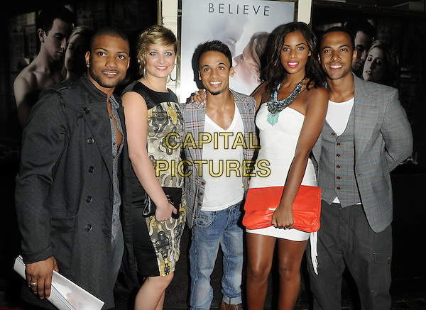 """JONATHAN """"JB"""" GILL, GUEST, ASTON MERRYGOLD, ROCHELLE WISEMAN & MARVIN HUMES.""""Ghost The Musical"""" press night, Piccadilly Theatre, Denman St., London, England..July 19th, 2011.half length white dress strapless silver blue turquoise beads red clutch bag beaded necklace grey gray jacket waistcoat couple The Saturdays JLS black yellow print dress.CAP/CAN.©Can Nguyen/Capital Pictures."""