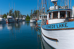 Ucluelet Harbor, British Columbia: Boats in the Small Boat Basin. Vancouver Island, Canada