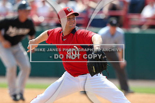 Washington Nationals Chad Gaudin #57 during a spring training game against the Florida Marlins at Spacecoast Stadium on March 27, 2011 in Melbourne, Florida.  Photo By Mike Janes/Four Seam Images