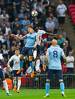 Newcastle's Dwight Gayle and Tottenham's Davinson Sanchez during the EPL - Premier League match between Tottenham Hotspur and Newcastle United at Wembley Stadium, London, England on 9 May 2018. Photo by Andrew Aleksiejczuk / PRiME Media Images.