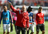 Swansea City manager Francesco Guidolin waves to fans at full time during the Barclays Premier League match between Swansea City and Manchester City played at The Liberty Stadium, Swansea on 15th May 2016