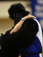 The Saints mascot is consoled after missing the net during the halftime entertainment during the National basketball league match between the Wellington Saints  and Taranaki Mountainairs at TSB Bank Arena, Wellington, New Zealand onFriday, 9 April 2010. Photo: Dave Lintott / lintottphoto.co.nz