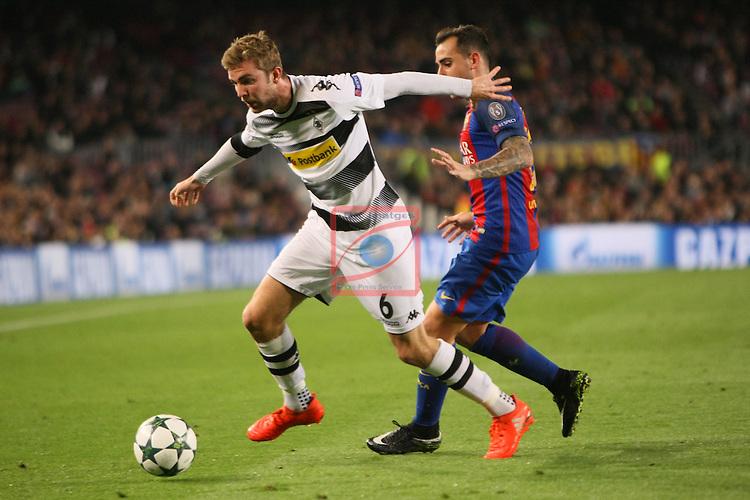 UEFA Champions League 2016/2017 - Matchday 6.<br /> FC Barcelona vs VfL Borussia Monchengladbach: 4-0.<br /> Christoph Kramer vs Paco Alcacer.