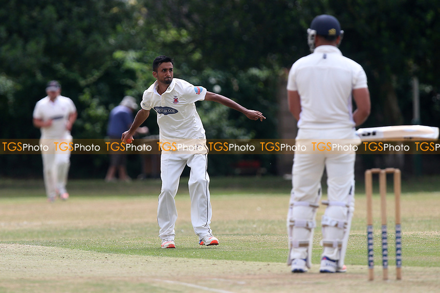 M Khan of Hornchurch celebrates the wicket of S Butt during Upminster CC vs Hornchurch CC, Shepherd Neame Essex League Cricket at Upminster Park on 8th July 2017