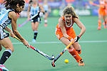 The Hague, Netherlands, June 12: Mariana Rossi #2 of Argentina defends against Roos Drost #26 of The Netherlands during the field hockey semi-final match (Women) between The Netherlands and Argentina on June 12, 2014 during the World Cup 2014 at Kyocera Stadium in The Hague, Netherlands. Final score 4-0 (3-0)  (Photo by Dirk Markgraf / www.265-images.com) *** Local caption ***