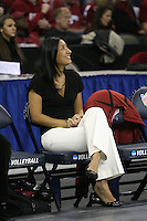 Omaha, NE - DECEMBER 20:  Director of volleyball operations Cobey Shoji of the Stanford Cardinal during Stanford's 20-25, 24-26, 23-25 loss against the Penn State Nittany Lions in the 2008 NCAA Division I Women's Volleyball Final Four Championship match on December 20, 2008 at the Qwest Center in Omaha, Nebraska.
