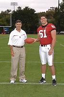 7 August 2006: Stanford Cardinal head coach Walt Harris and Alfred Johnson during Stanford Football's Team Photo Day at Stanford Football's Practice Field in Stanford, CA.