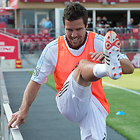 18 July 2012: Colorado Rapids defender Hunter Freeman #2 takes warm-up during an MLS game between the Colorado Rapids and Toronto FC at BMO Field in Toronto, Ontario..Toronto FC won 2-1..