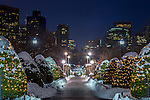 December snow in the Public Garden, Boston, Massachusetts, USA