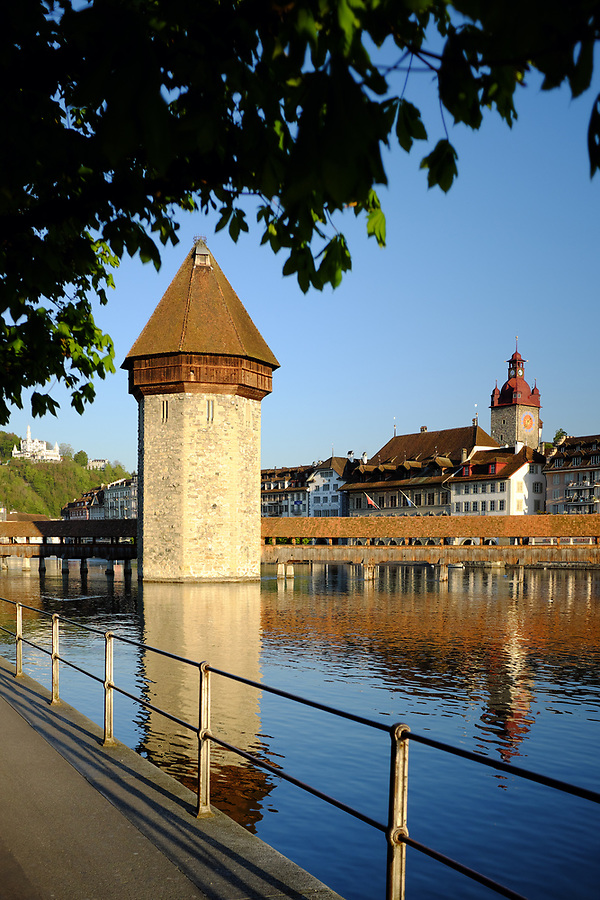 Wasserturm Tower and Chapel Bridge on Reuss River, Lucerne, Switzerland, Europe