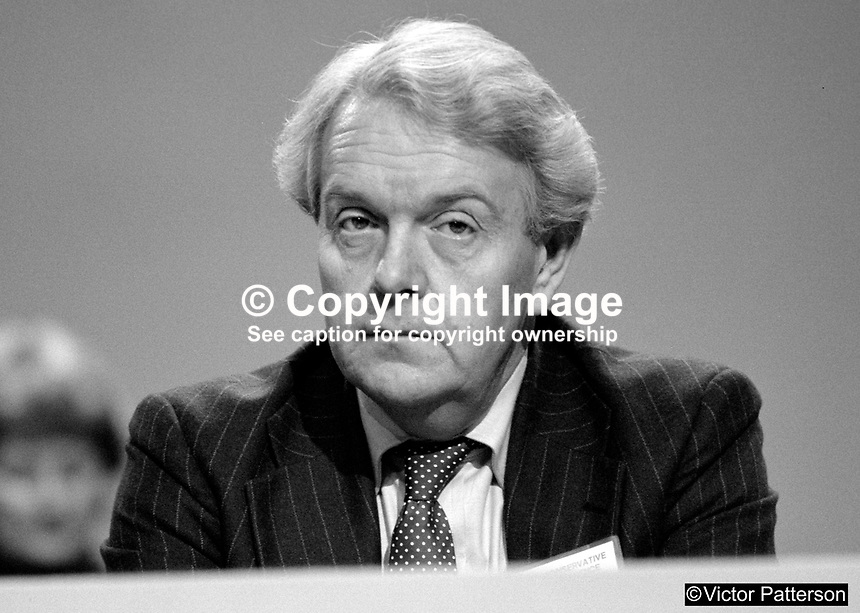 Nicholas Scott, MP, Conservative Party, UK, junior minister, N Ireland Office, on platform at 1984 annual conference, Brighton.  19840172NS1.<br />