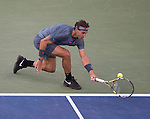 Rafael Nadal (ESP) battles Novak Djokovic in the finals  at the US Open being played at USTA Billie Jean King National Tennis Center in Flushing, NY on September 9, 2013