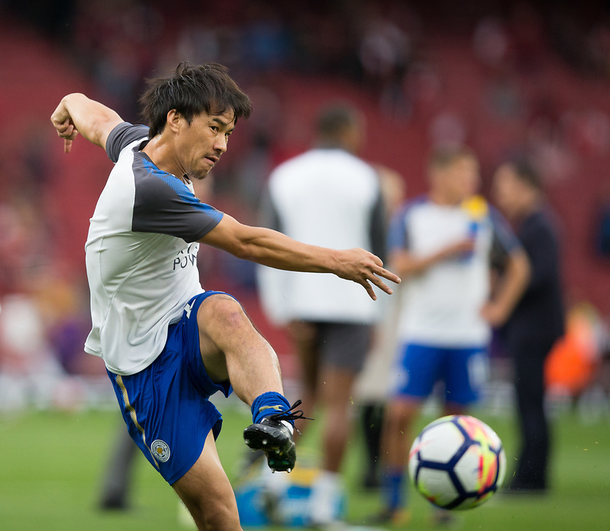 Leicester City's Shinji Okazaki during the pre-match warm-up <br /> <br /> Photographer Craig Mercer/CameraSport<br /> <br /> The Premier League - Arsenal v Leicester City - Friday 11th August 2017 - Emirates Stadium - London<br /> <br /> World Copyright &copy; 2017 CameraSport. All rights reserved. 43 Linden Ave. Countesthorpe. Leicester. England. LE8 5PG - Tel: +44 (0) 116 277 4147 - admin@camerasport.com - www.camerasport.com