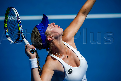 10.01.2016. Sydney, Australia. Tammi Patterson (AUS) in action against Svetlana Kuznetsova (RUS) during their women's singles  match on Day 1 at the Apia International tournament at the Apia International Sydney, Australia. Kuznetsova beat Patterson  6:2, 6:0
