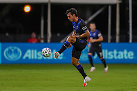 10th July 2020, Orlando, Florida, USA;  San Jose Earthquakes defender Oswaldo Alanis (4) stops the ball during the soccer match between the Seattle Sounders and the San Jose Earthquakes on July 10, 2020, at ESPN Wide World of Sports Complex in Orlando, FL.