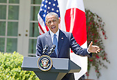 United States President Barack Obama conducts a joint press conference with Prime Minister Shinzo Abe of Japan in the Rose Garden of the White House in Washington, D.C. on Tuesday, April 28, 2015.<br /> Credit: Ron Sachs / CNP
