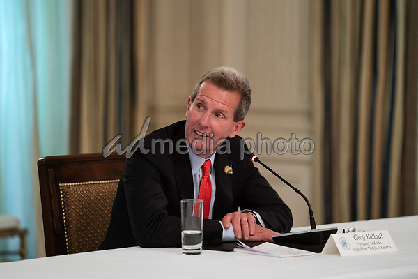 Geoff Ballotti, President and CEO, Wyndham Hotels & Resorts makes remarks during a roundtable discussion with industry leaders on reopening the American economy in the State Dining Room of the White House in Washington, DC on May 29, 2020. <br /> Credit: Erin Schaff / Pool via CNP/AdMedia